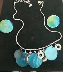 Joan Riversblue &  Green Faux Pearl Necklace and matching clip Earring Set