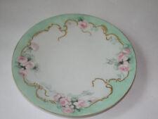 """Vintage J. P. L. Limoges France  Handpainted Porcelain Plate - Pink Roses, 9"""""""