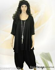 PoCo DeSiGn° LAGENLOOK Long Shirt Jersey Tunika schwarz Viskose L-XL-XXL-XXXL