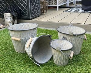 Round Galvanised Zinc Metal Bucket Tin Vintage Garden Planter Plant Pot Wedding
