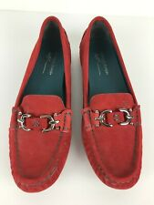 Donald J Pliner Viky Red Suede Flat Loafer Driving Mocs w/ Silver Hardware Sz 8M