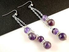 Amethyst Gemstone Platinum Plated Dangle Earrings & Rhinestones Beads # 801