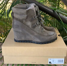 Ugg Valory waterproof suede/Leather Wedge Boots 9M $225