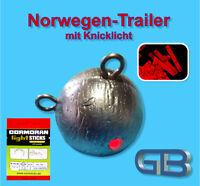 Norwegen Trailer mit Knicklicht Rot 4,5 x 37 mm, Jigkopf 240g - 350g
