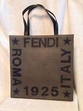 FENDI LEATHER APPLIQUES TOTE SHOPPER Handbag BROWN ITALY