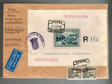 1937 Burgos Spain Cover to Switzerland Liberation of Toledo  Souvenir Sheet