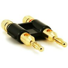 Dual Banana Plug Space Audio Speaker Wire Cable Connector Open Screw Type Gold