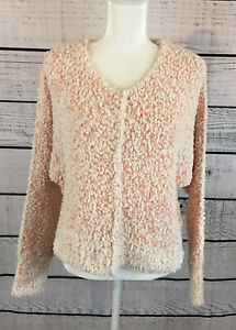 Hippie Rose coral Ivory fuzzy v neck Junior Women's Sweater Size Small NWT