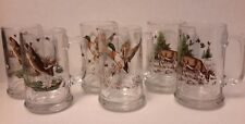 (6) Wildlife Nature Glass Beer Mugs - Mallard Duck - Bass Fish - Deer -