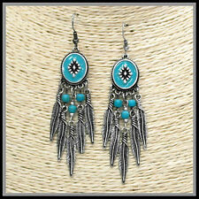 Rustic Metal Silver Black Patina Dream Catcher Turquoise Earrings Wire Feathers
