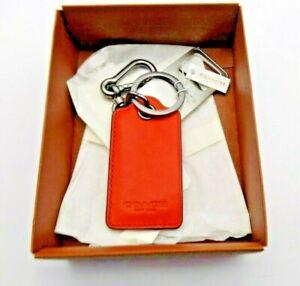 Coach Bottle Opener Charm Leather Key Ring Carabiner Orange 64577 (M1)