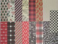 15pcs CARDSTOCK, Christmas Holiday, North Pole, Plaid, Antlers, Tree, Glitter