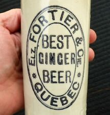Antique, Quebec City 'ELZ. FORTIER' stone ginger beer bottle FREE SHIPPING!