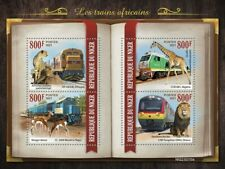 Niger - 2021 African Trains and Animals - 4 Stamp Sheet - NIG210110a