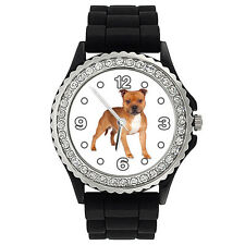 American Staffordshire Terrier Dog Crystal Jelly Silicone Band Wrist Watch Sg38P