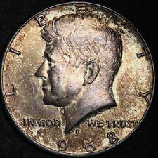 1968 Kennedy Half Dollar BU TONED FREE SHIPPING E325 T