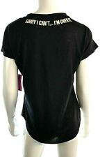 Material Girl Womens 02807 Black Tee Blouse Shirt Sorry I Can't I'm Over It Sz S