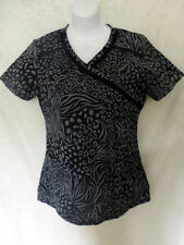 Baby Phat Black & Grey Gray Short Sleeve Womens Cotton Lace Inset Shirt Small