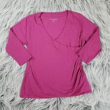 SOFT SURROUNDINGS Shapely Surplice XL Faux Wrap Top Ruched Pima Cotton Rosy Pink