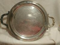 FB Rogers Silver Co. 2670 Handled Serving Platter Silver on Copper 12 1/2""