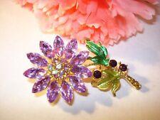 Purple Crystal AB Rhinestone Enamel Floral Brooch Pin New