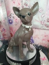 More details for chihuahua large sitting statue, in chocolate brown, lilac coat