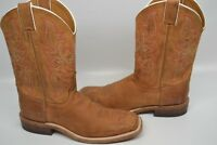 Mens Justin Square Toe Bent Rail Leather Western Cowboy BROWN Boot 8.5 D BR735