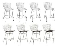 """4x Bertoia 25"""" Seat Hgt Wire Counter Stools Chromed Steel Black or White Pads"""