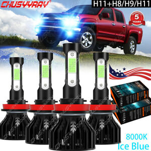 Kit bombillas haz alto bajo 4 lados 4x LED For Chevrolet Camaro 2014 2015 8000K