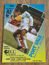 21/10/1989 Port Vale Vs West Ham United Division Two Football Match Programme
