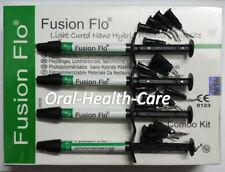Fusion Flo Dental Light Cured Nano Hybrid Flowable Composite 4X 2gms Syringe Kit
