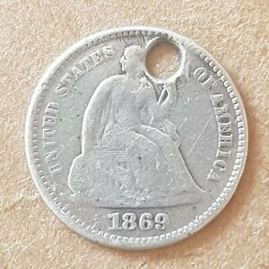 1869 US USA Half Dime Early America Coin HOLED