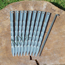 10 X HIGHLANDER 8.5 INCH ANGLE STEEL TENT PEGS – 21.5cm strong robust basha peg