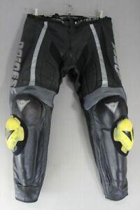 "DAINESE BLACK & SILVER LEATHER BIKER TRSRS+ARMOUR/KNEE SLIDERS WAIST 34""/LEG 28"""