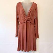 Francesca's Alya Dress Twist Front Long Sleeve Cinnamon Women's Large NWT