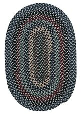 Boston Common Winter Blues Wool Blend Oval Round Country Farmhouse Braided Rug