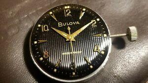 Vintage Bulova Cal. 11ACC 17 Jewel Movement BLACK Ribbed Dial  NEW OLD STOCK !!!