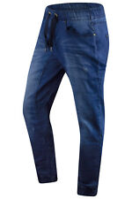 New Men Denim Jogger Jeans Elastic Waist Blue Sizes S-2XL