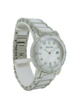 Bulova Diamond 98P121 Women's Round Mother of Pearl Ceramic Analog Watch