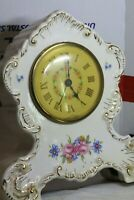 Working 1950 Flowered with Gold China Alarm Clock Lux Clock Mfg Co Waterbury Ct