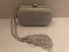La Regale Silver Shimmery Evening Handbag Purse Small Hard Case Tassel Handle