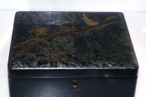 Early Japanese Painted Lacquer Dresser Box Gold Bird Mother of Pearl