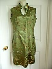 Oriental Dress M L Geisha Sheath Green Sleeveless Sexy Jacquard Satin Textured