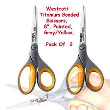 "2x Westcott 8"" Straight Titanium Bonded Scissors ✂ Grey/Yellow New FreeShipping"