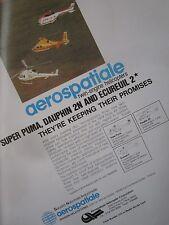 2/1982 PUB AEROSPATIALE HELICOPTERE SUPER PUMA ECUREUIL 2 DAUPHIN 2N ORIGINAL AD