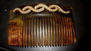14K Gold Victorian Art Nouveau Faux Tortoise Shell with Pearl Motif Hair Comb