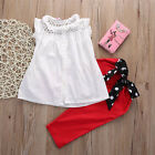2pcs Kids Baby Girls Summer Outfit Net Vest tops Red Long Bowknot Pants Clothes