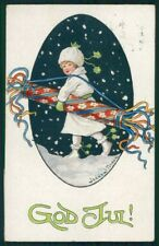 Artist Signed Jenny Nystrom Child Christmas serie 1044 postcard TC4985
