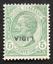 Regno 1912 Libia varietà cent. 5 mnh sovrastampa capovolta