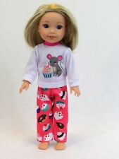 "Cupcake Mouse Pajama Pant Set Fits Wellie Wishers 14.5"" American Girl Clothes"